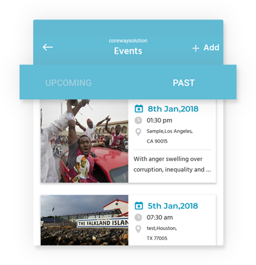 Easy filter of event by HandyNation mobile app
