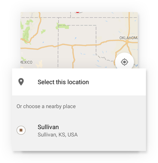 Map locator to fill the address of event